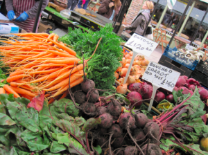 Carrots and beets at broadway streetmarket